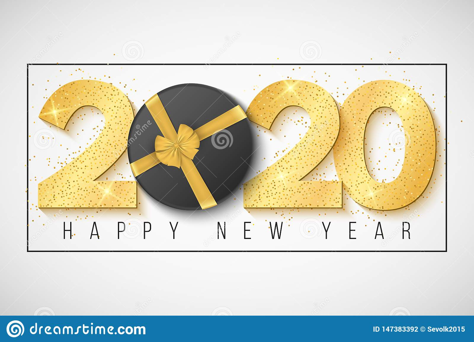 2020 Happy New Year Greeting Card Golden Confetti And Gift