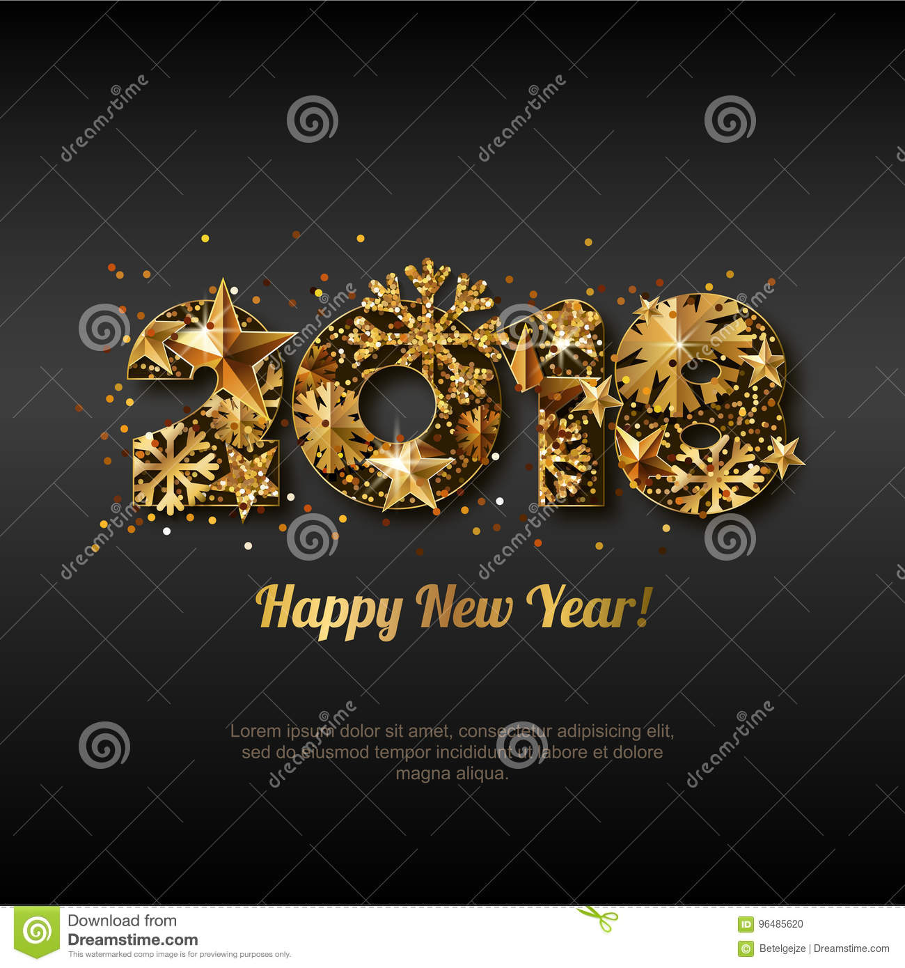 happy new year 2018 greeting card with golden numbers abstract holiday black glowing background