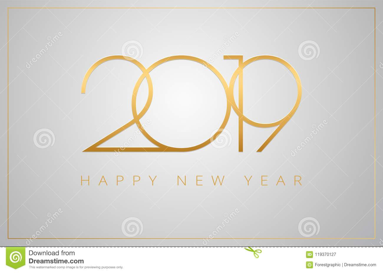 2019 happy new year greeting card golden numbers on a silver b
