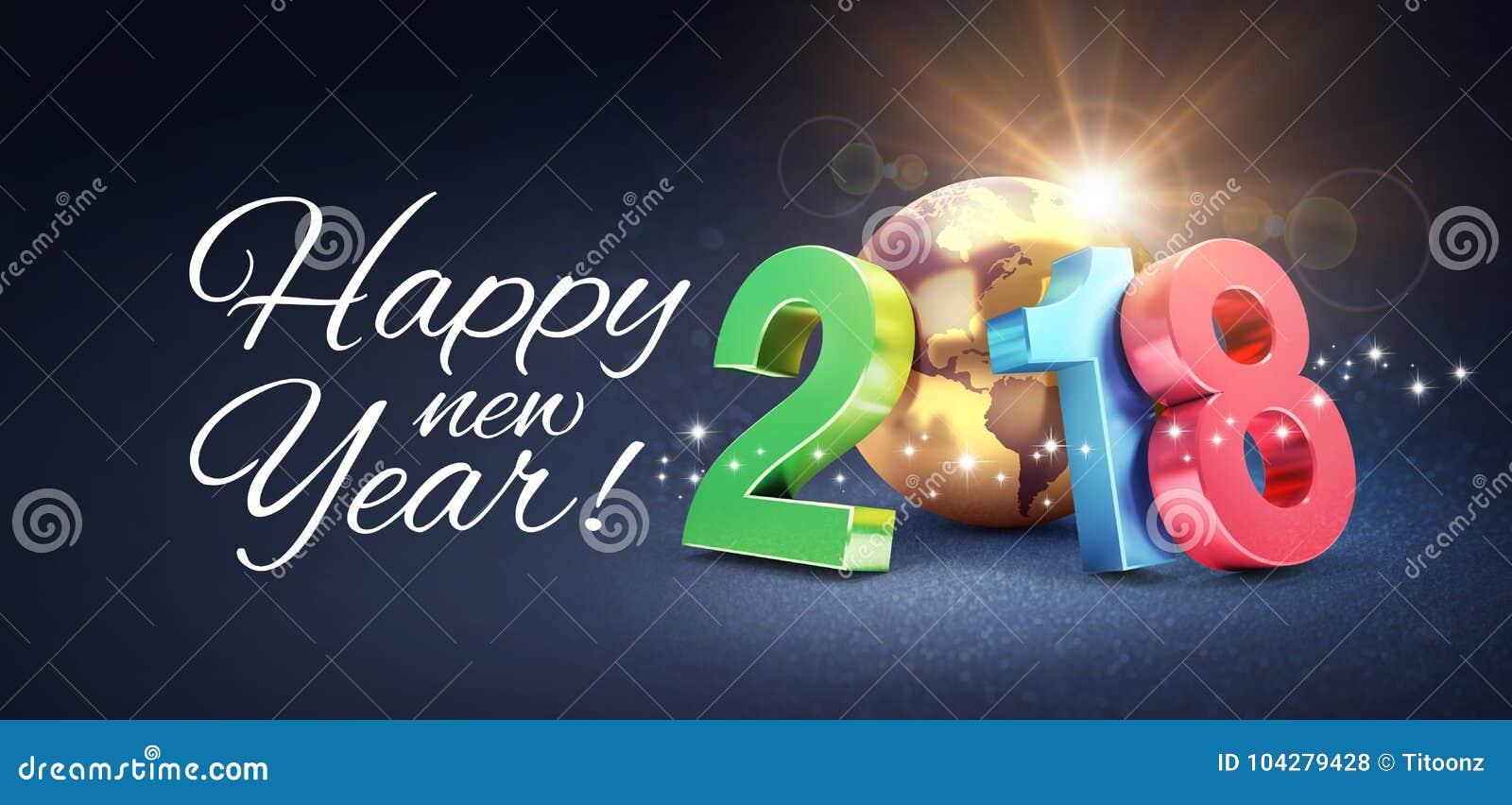 Happy New Year 2018 Greeting Card Stock Illustration Illustration