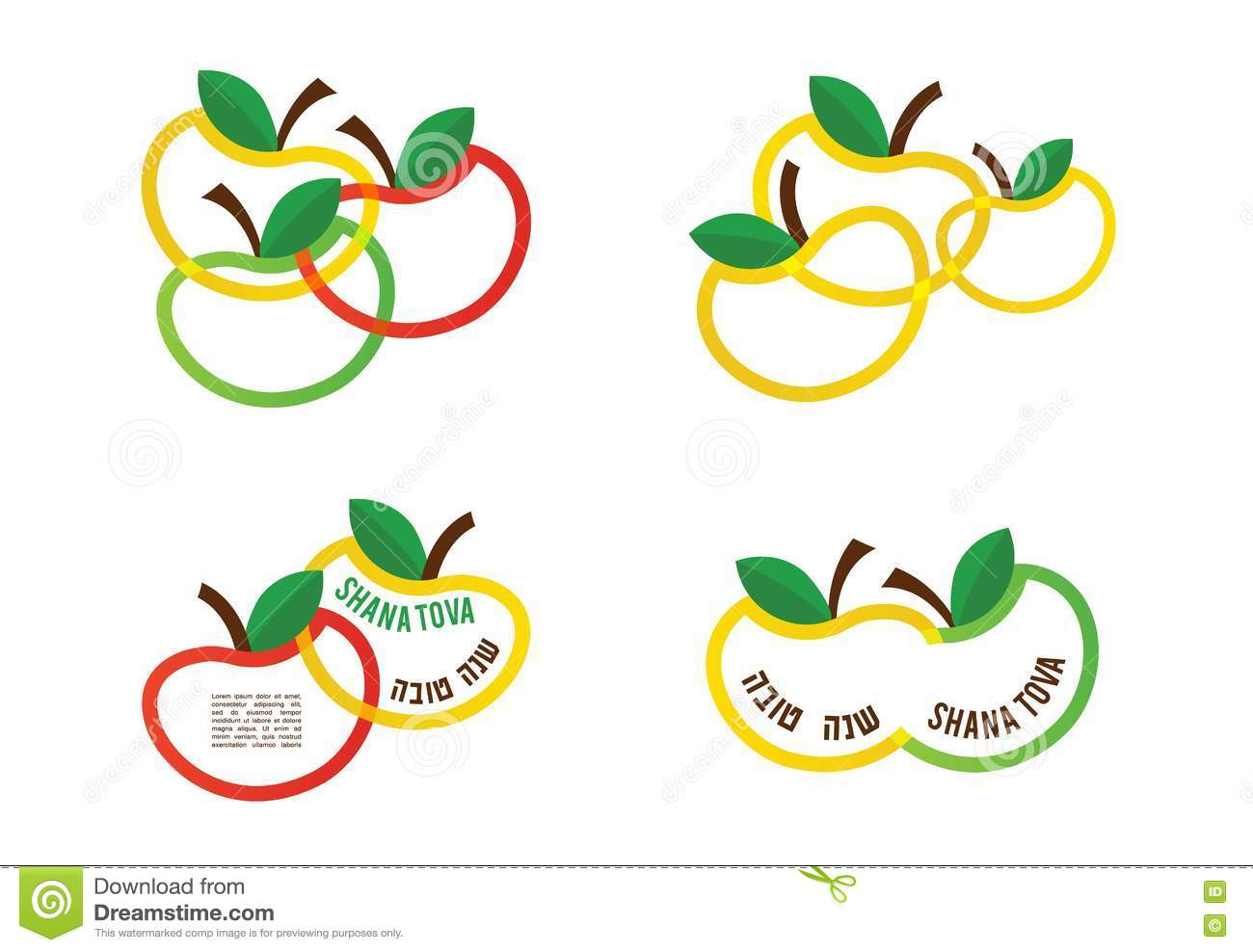 Happy new year greeting card and icons of colourful apples in happy new year greeting card and icons of colourful apples in hebrew kristyandbryce Image collections