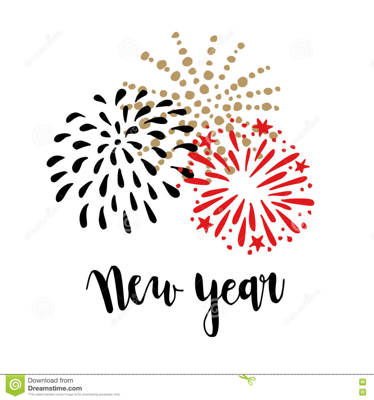 Happy New Year greeting card, invitation. Brush lettering text with doodle hand drawn fireworks. Festive party background.Vector