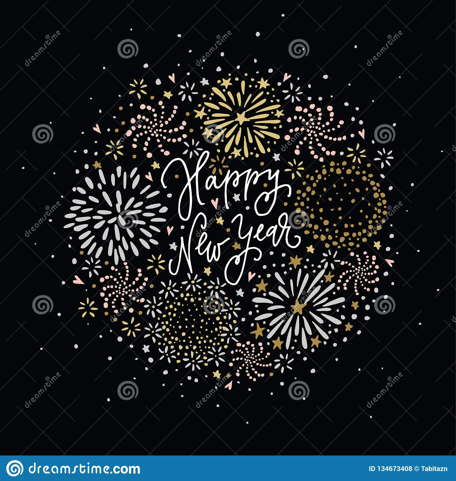 Happy New Year greeting card, invitation. Set of hand drawn silver and golden fireworks, stars and sparks with white