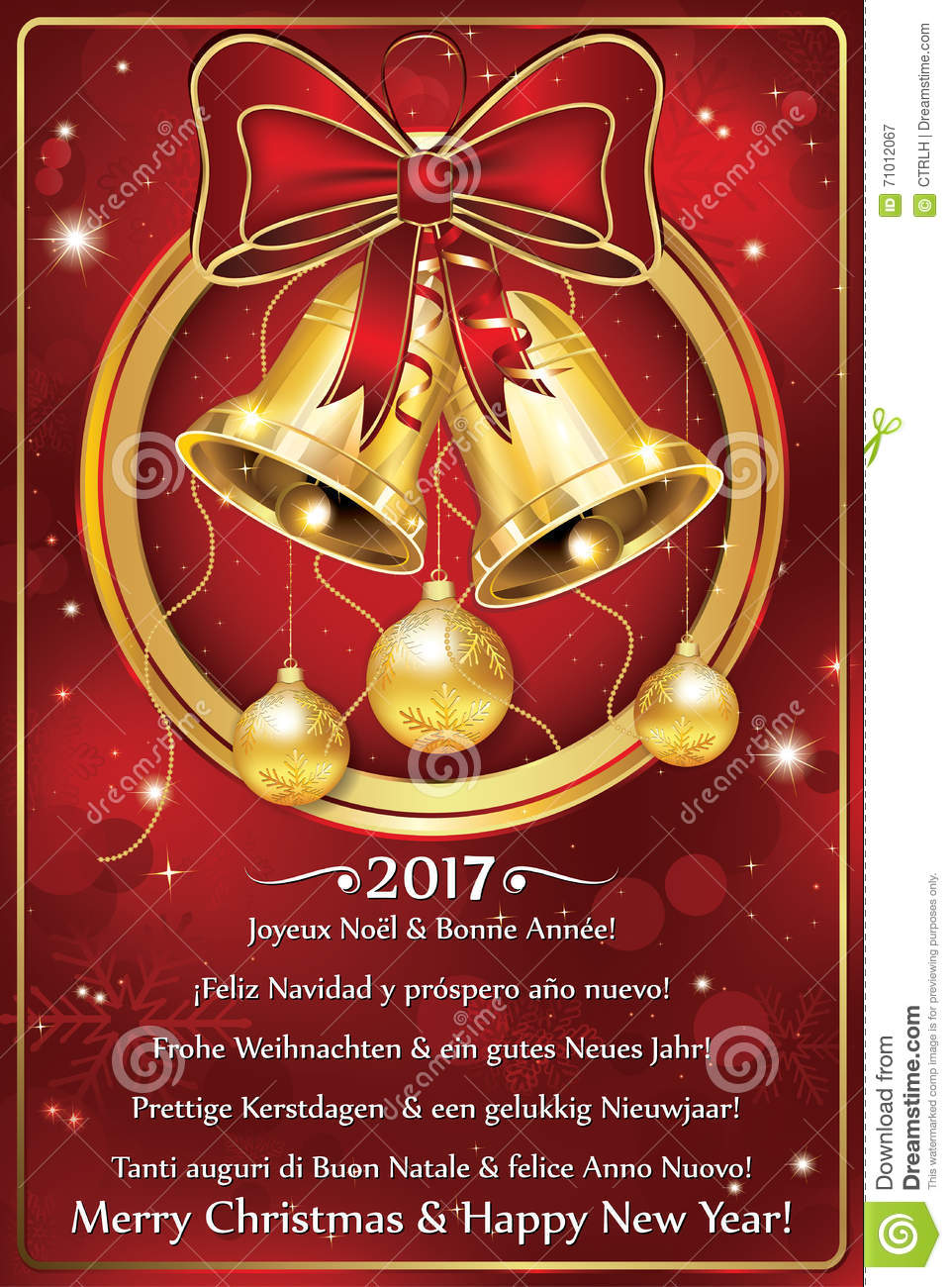 photo regarding Merry Christmas in Different Languages Printable referred to as Delighted Clean 12 months 2017 Greeting Card Within just Quite a few Languages Inventory