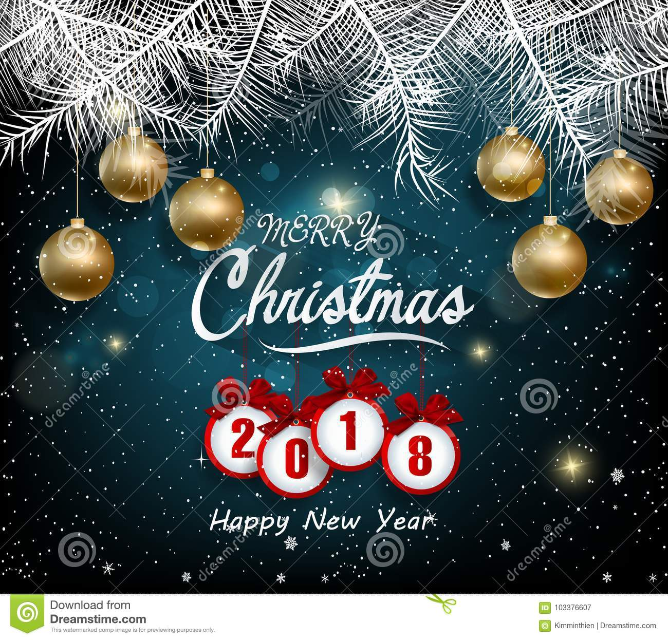 Happy New Year 2018 Greeting Card Merry Christmas Stock Vector