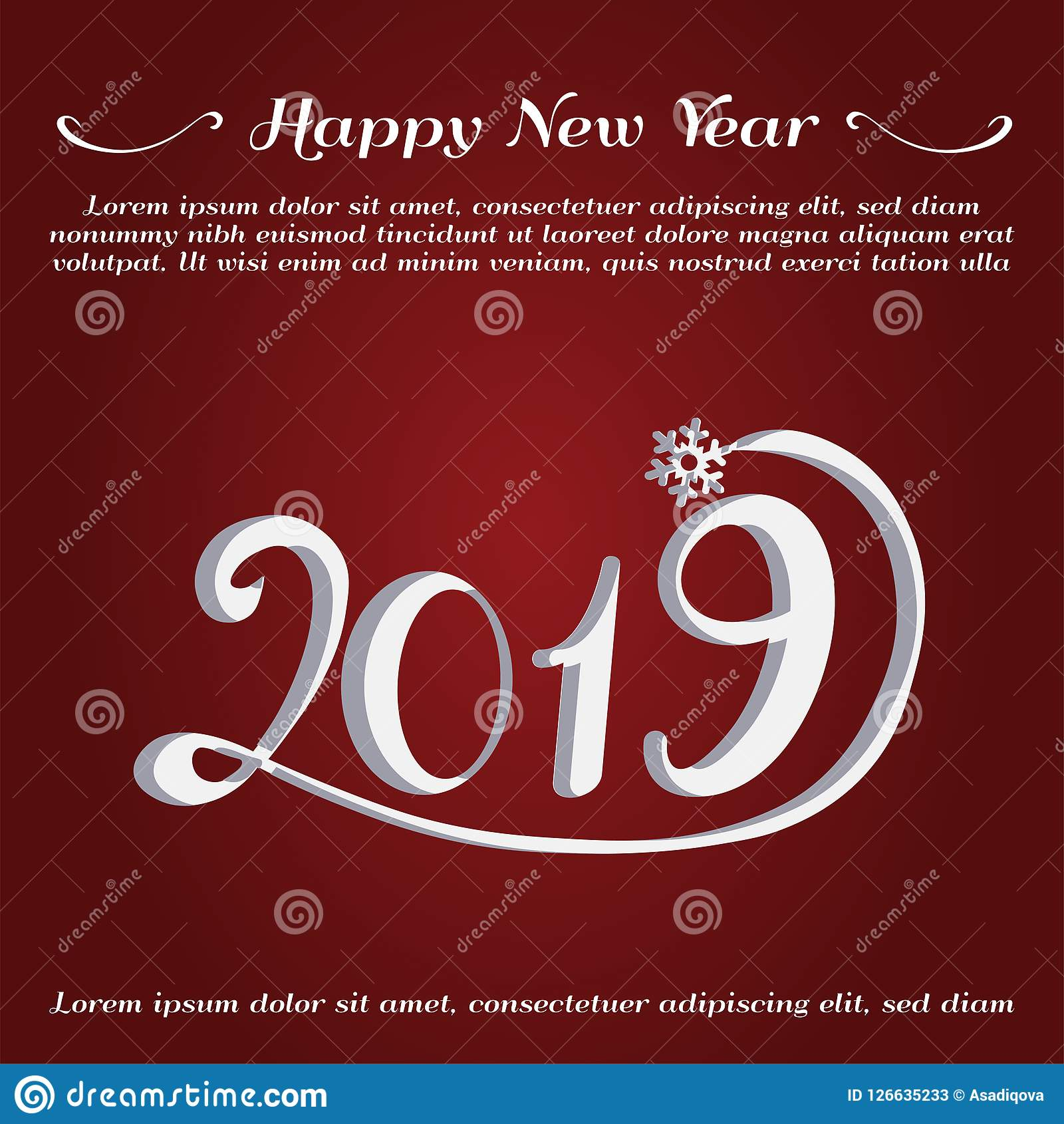 Happy New Year Greeting Card New Year 2019 Card Stock Vector Illustration Of Culture Animal 126635233