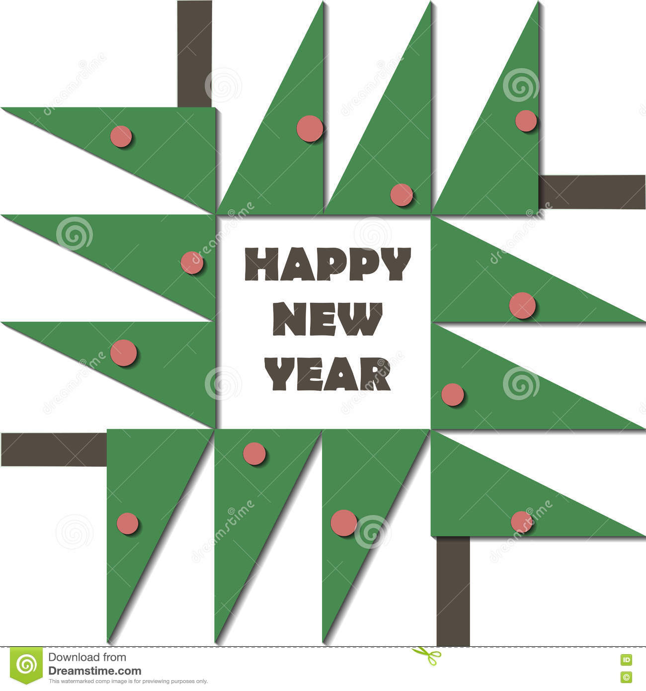 happy new year greeting card paper cut collage applique cutout child christmas tree with