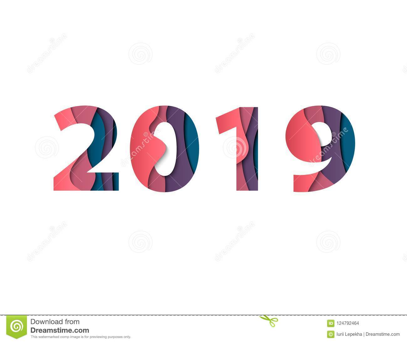Happy new year 2019 greeting card with paper cut effect of - Color for new year 2019 ...