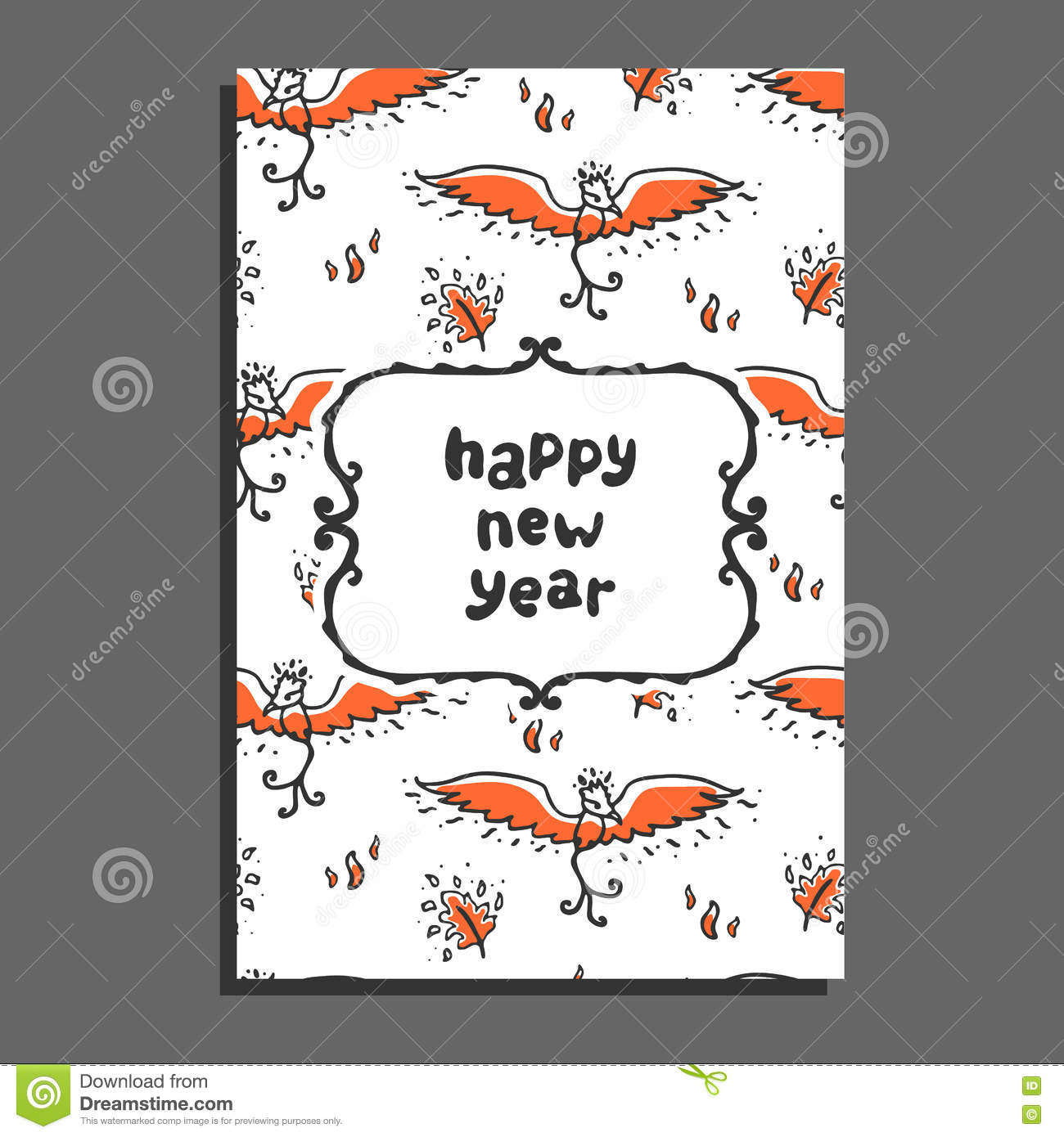 Happy New Year Greeting Card With Phoenix And Flames. Stock Vector ...