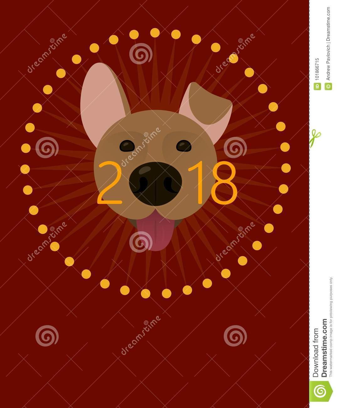 2018 happy new year greeting card poster celebration background with dog 2018 chinese new