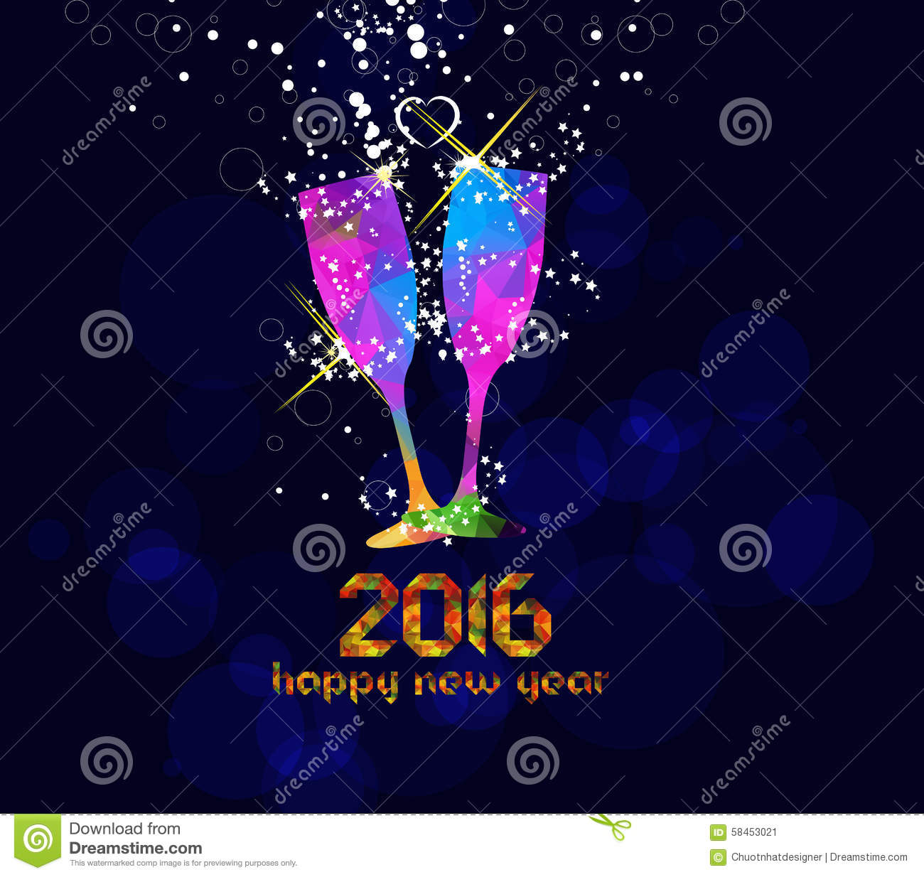 happy new year 2016 greeting card or poster design with colorful