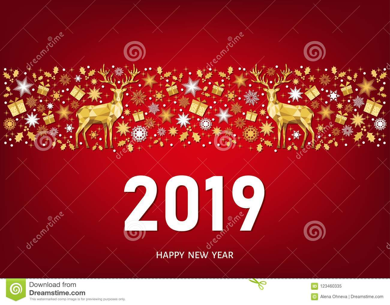 2019 Happy New Year Greeting Card On Red Background Stock Vector