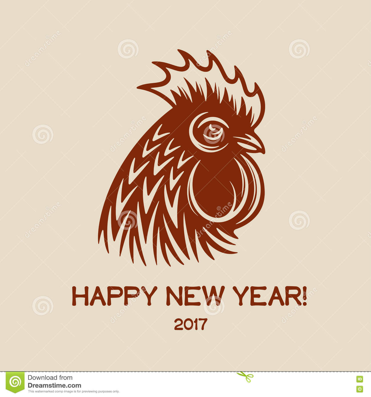 Happy new year greeting card with red rooster head and text 2017 happy new year greeting card with red rooster head and text 2017 vector vintage illustration kristyandbryce Images