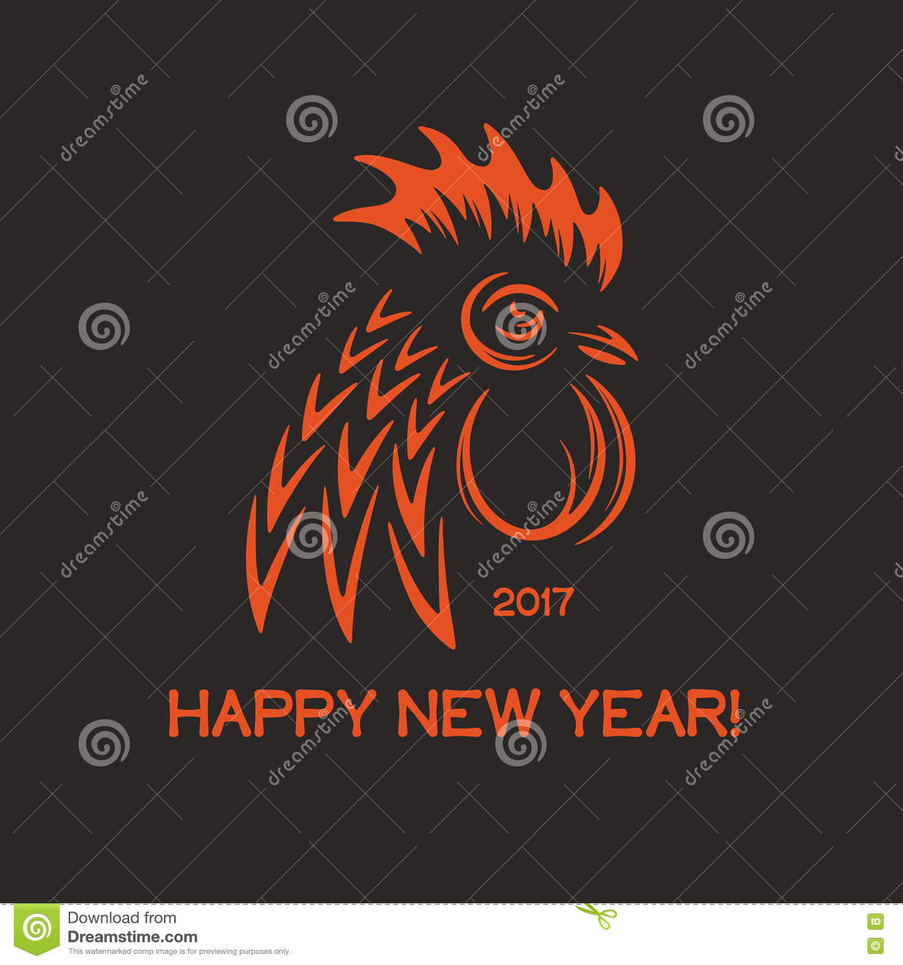 Happy New Year Greeting Card With Red Rooster Head And Text 2017