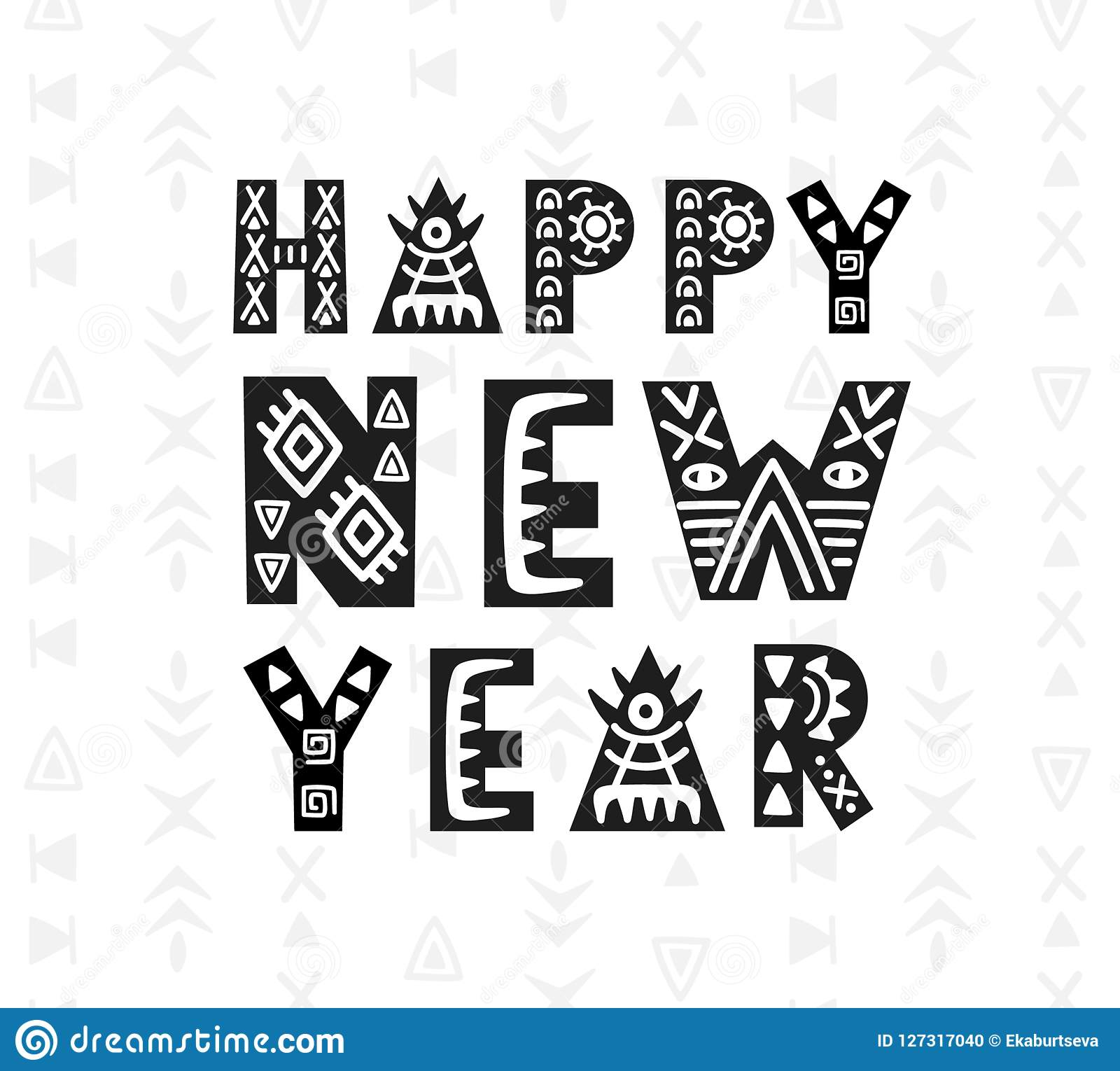 Happy New Year Greeting Card. Scandinavian Style Hand Lettering ...