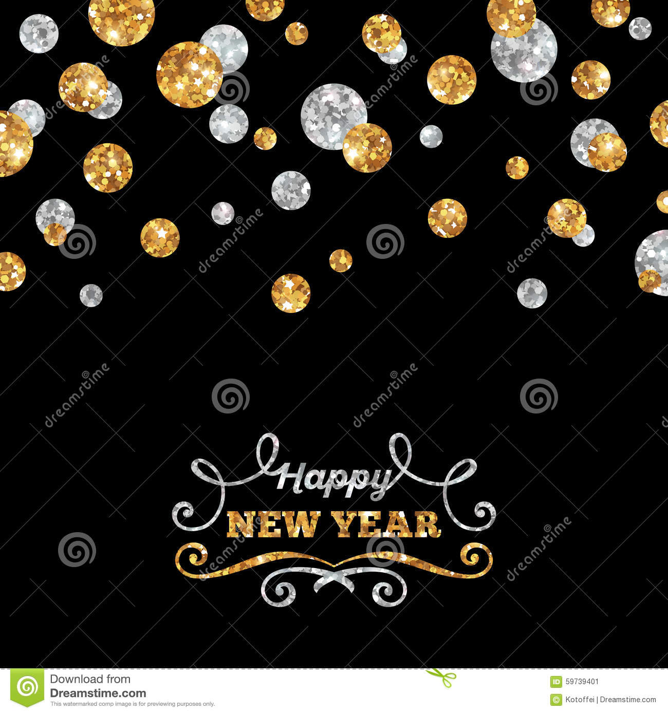 happy new year greeting card with shining dots