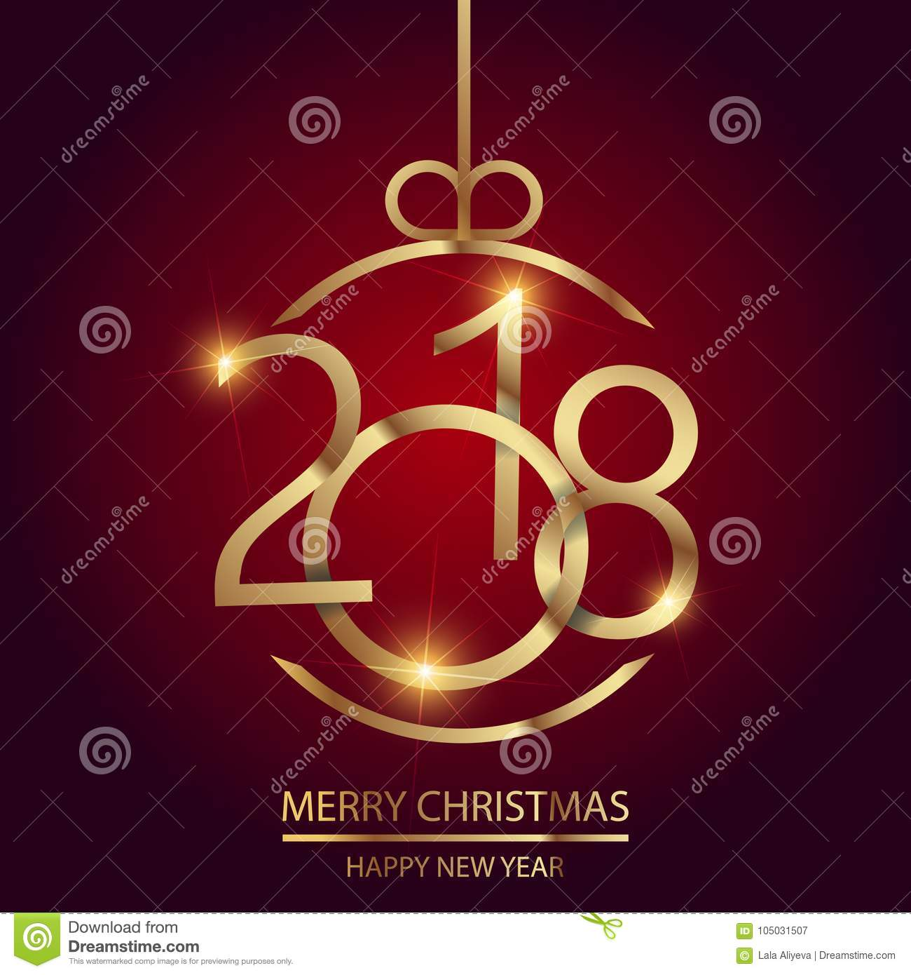 Happy New Year Greeting Card With Shining Gold Text And Christmas