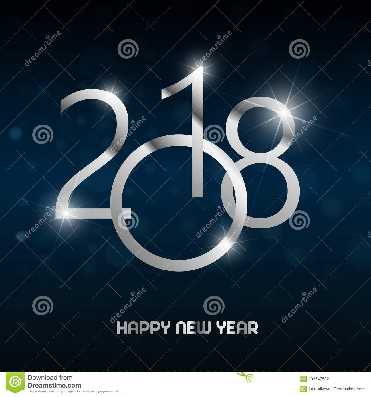 Happy New Year Greeting Card With Shining Silver Text On Blue