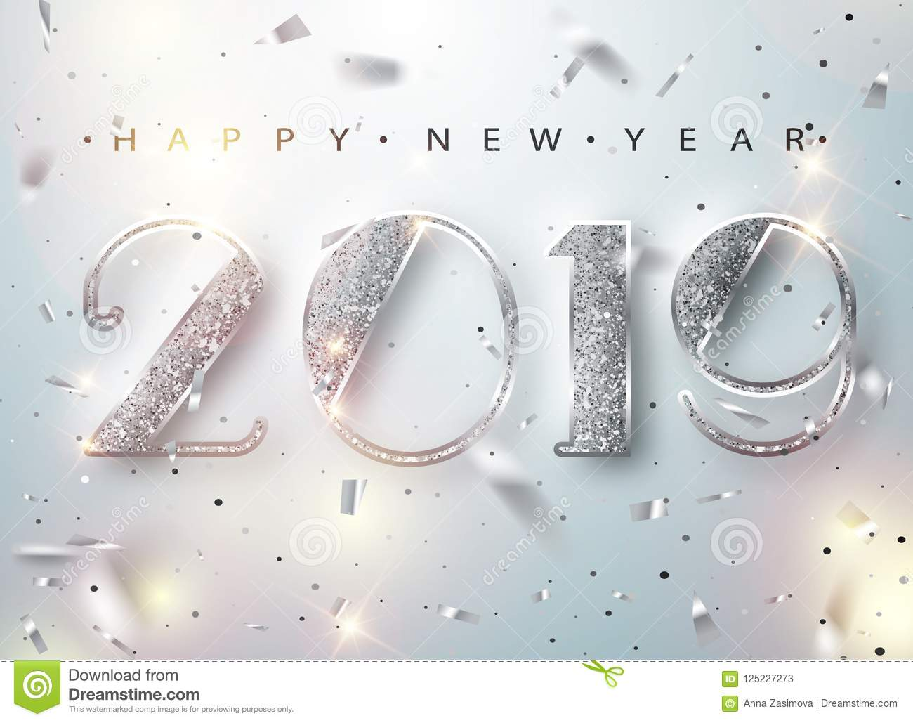 Happy New Year 2019 Greeting Card with Silver Numbers and Confetti Frame on White Background. Vector Illustration. Merry