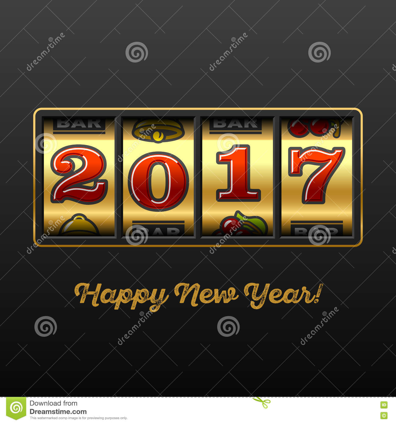 Happy New Year 2017 Greeting Card Stock Vector Illustration Of