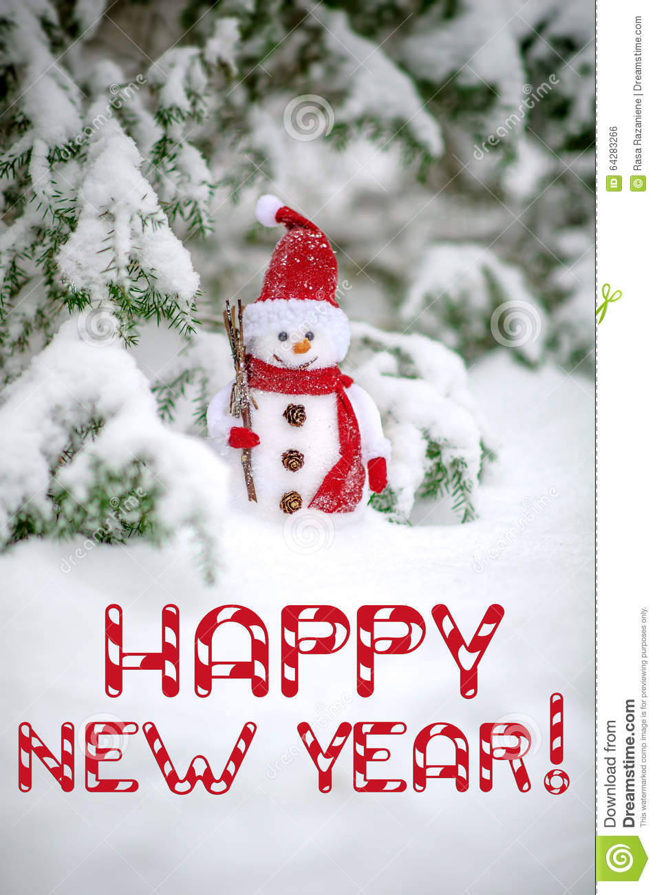 Happy New Year Greeting Card With Snowman Stock Photo ...