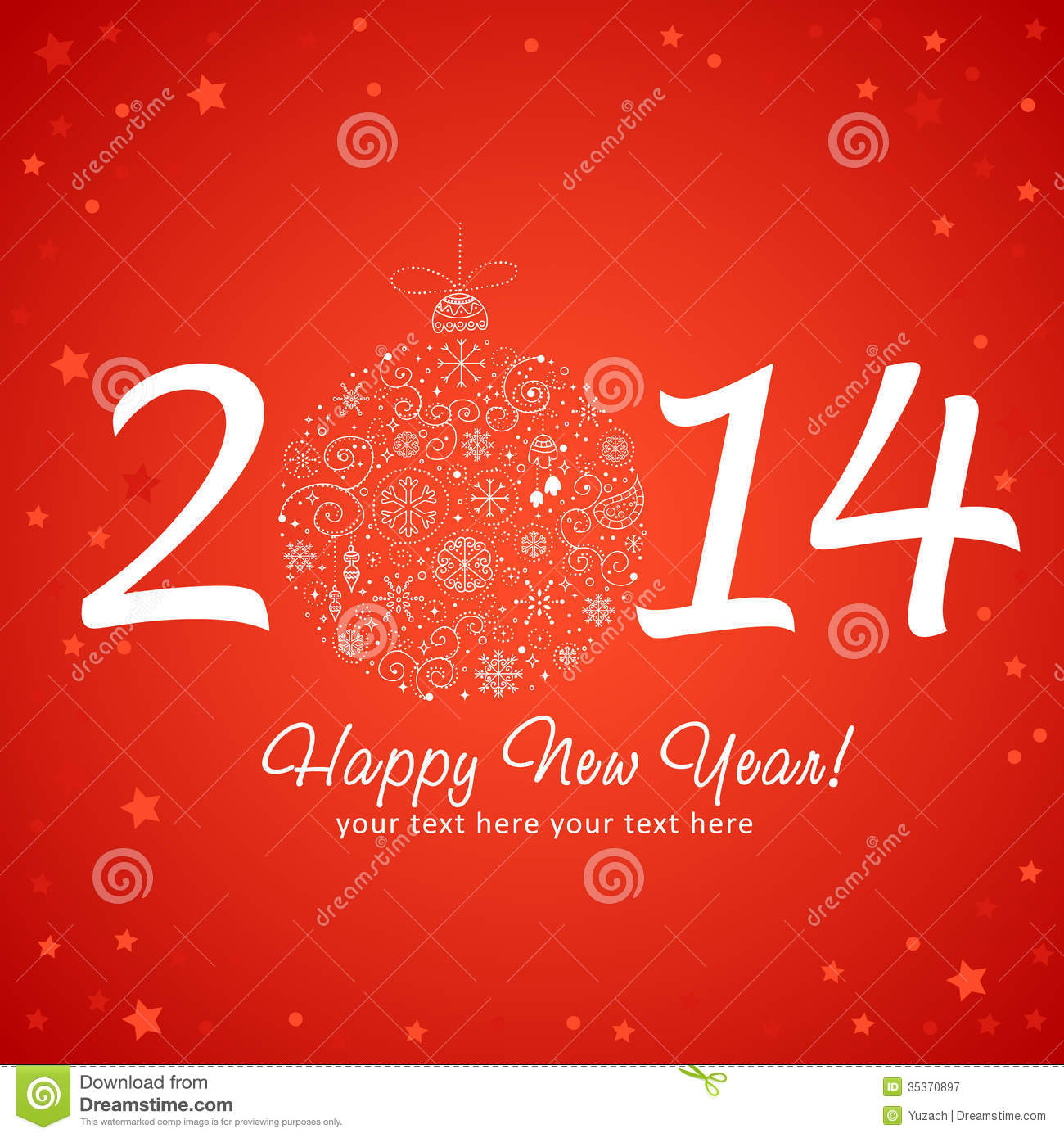 2014 Happy New Year Greeting Card Stock Vector Illustration Of