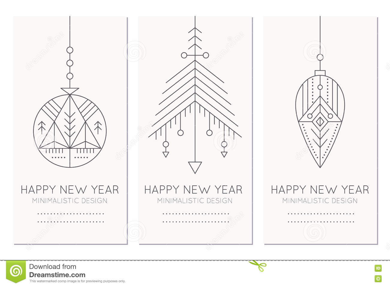 Happy New Year Greeting Card Template With Hanging Decorations Stock