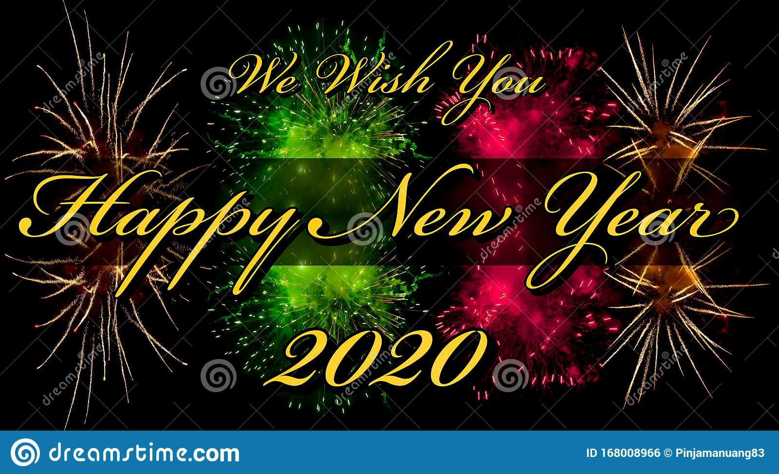 Happy New Year 2020 Greeting Card Or Template With Text And