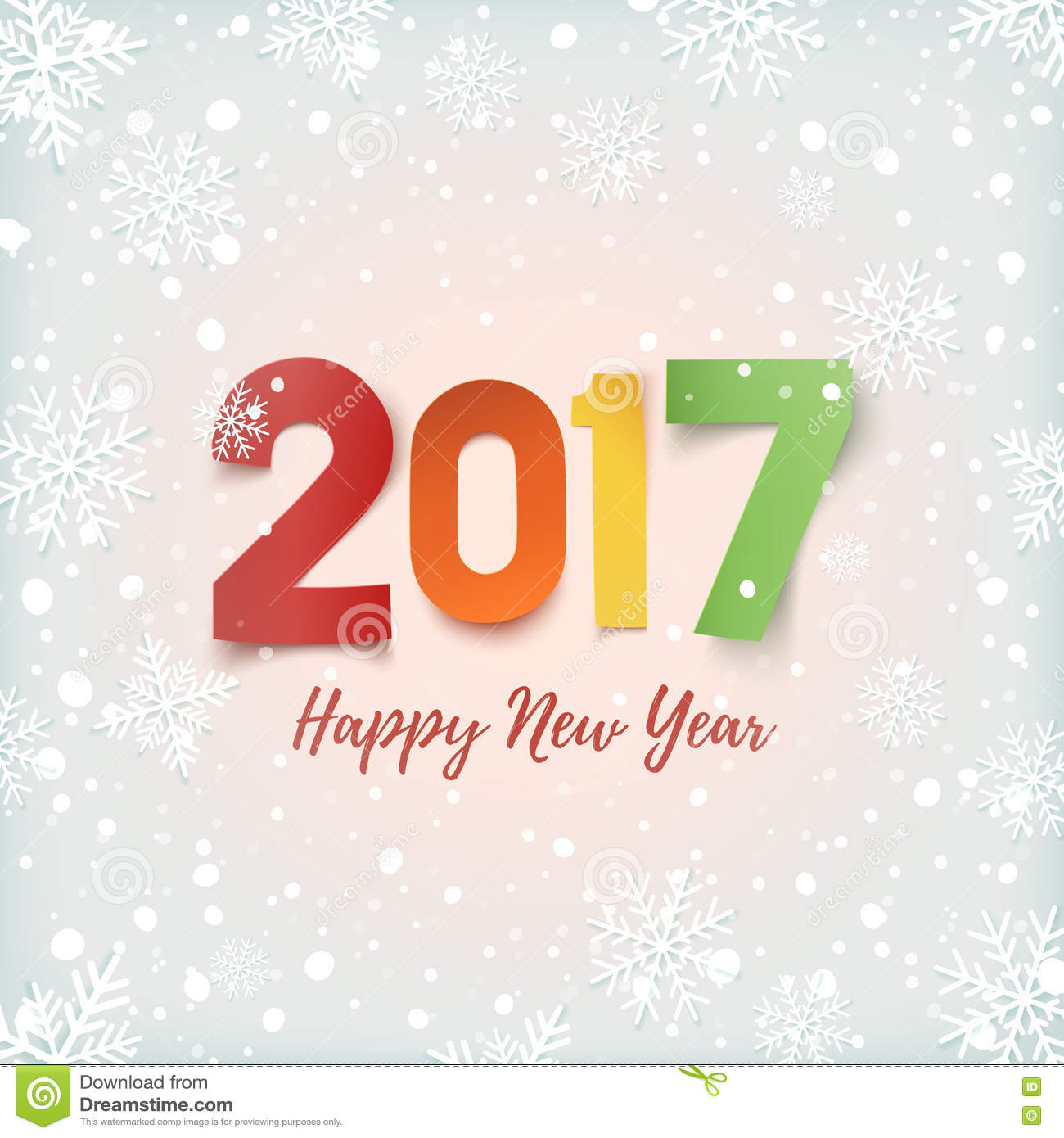 Happy New Year 2017 Greeting Card Template Vector Image – New Year Greeting Card Template