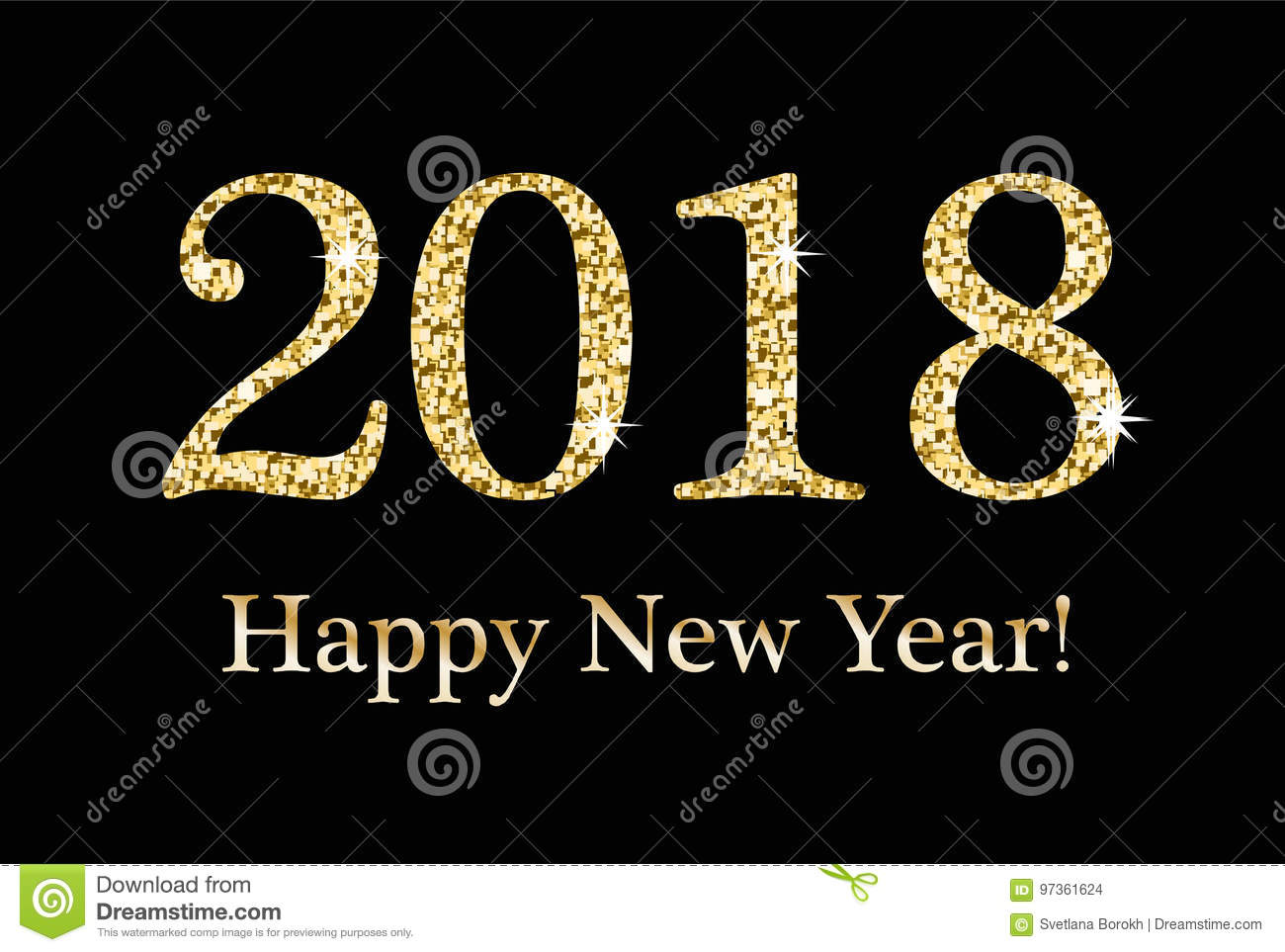 Happy New Year, Greeting card, template for your design. 2018 inscription from a gold glitter, sequins. Sparkling