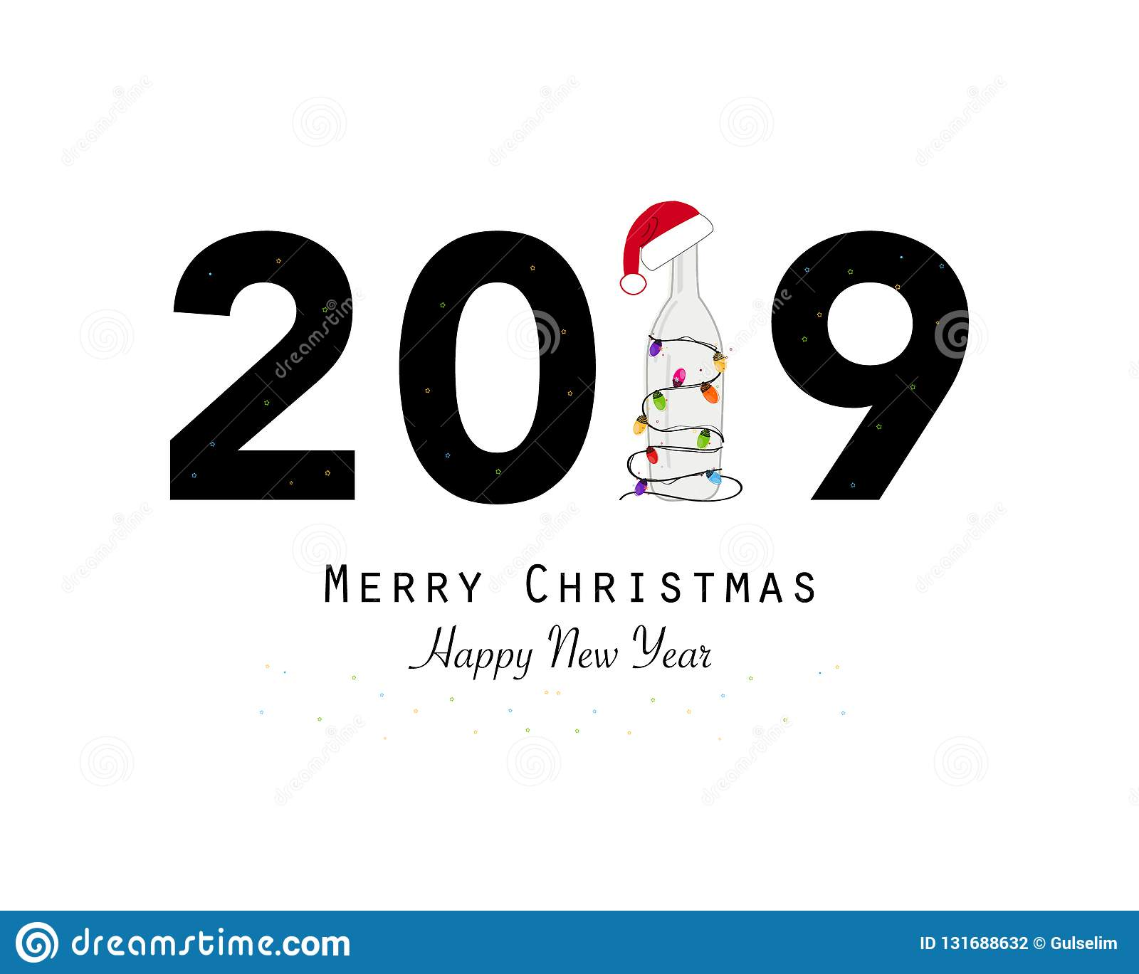 happy new year greeting card with 2019 text and wine bottle
