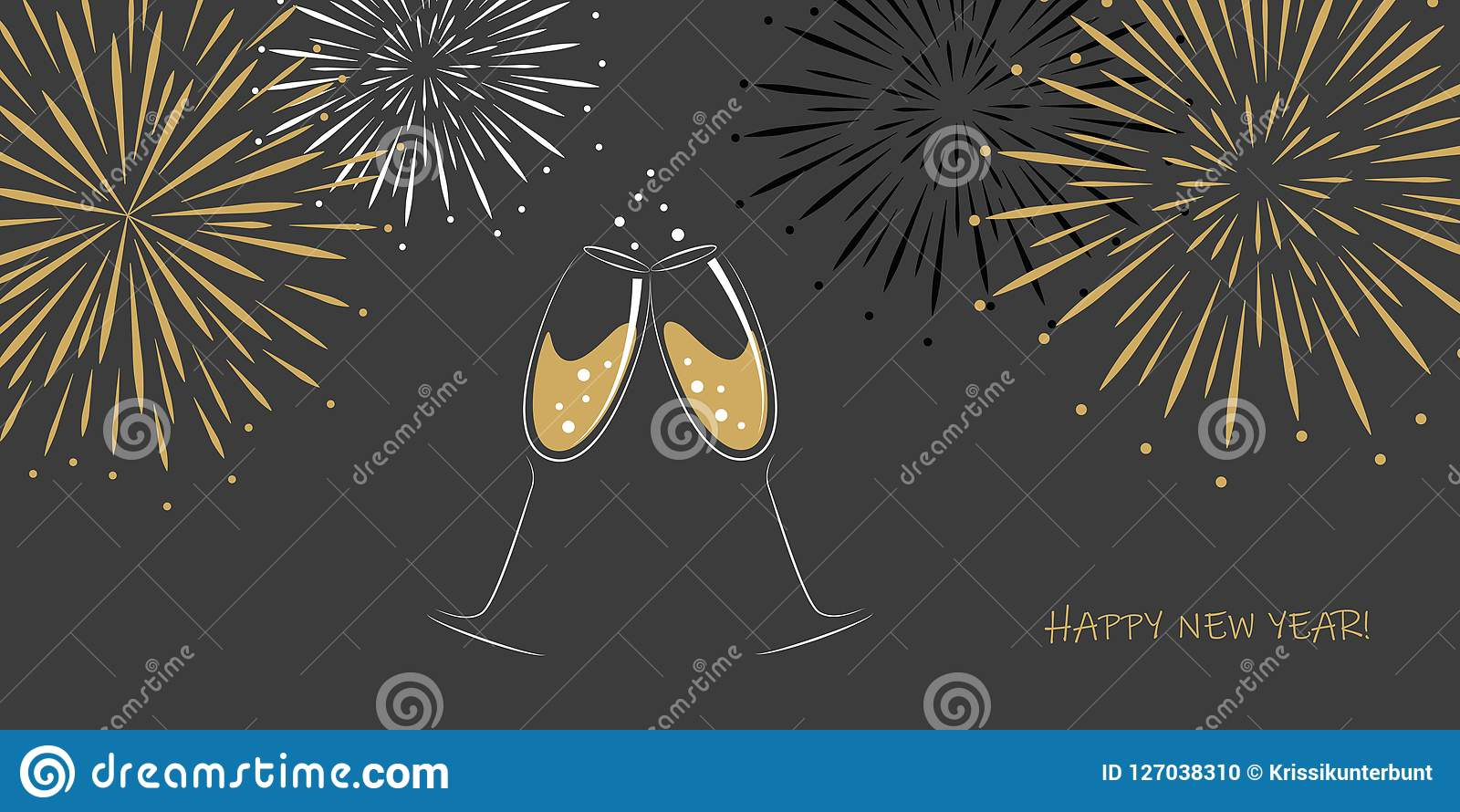 Happy new year greeting card two champagne glasses and fireworks on a grey background