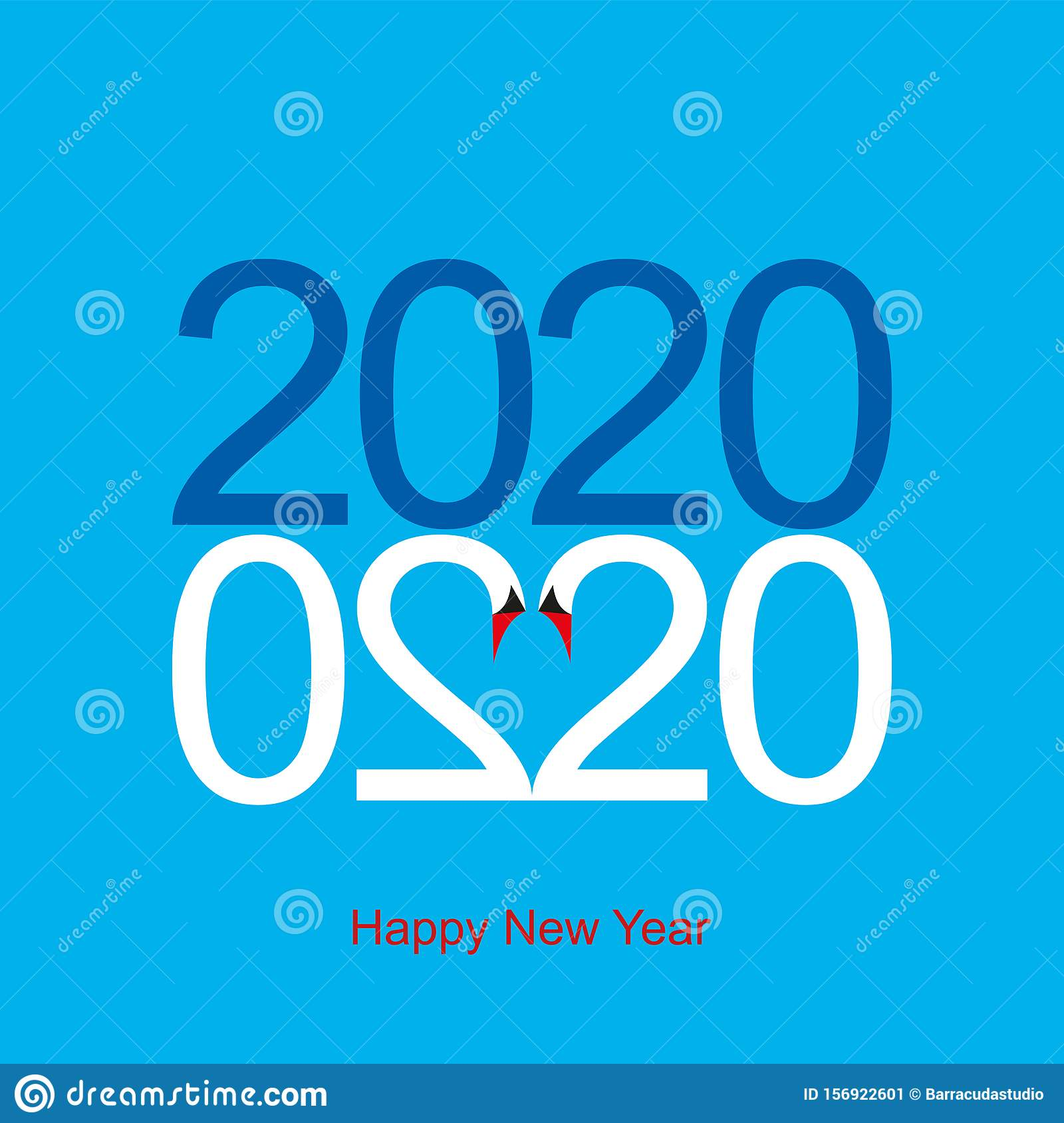 Happy New Year 2020 Greeting Card Two Swans From Two