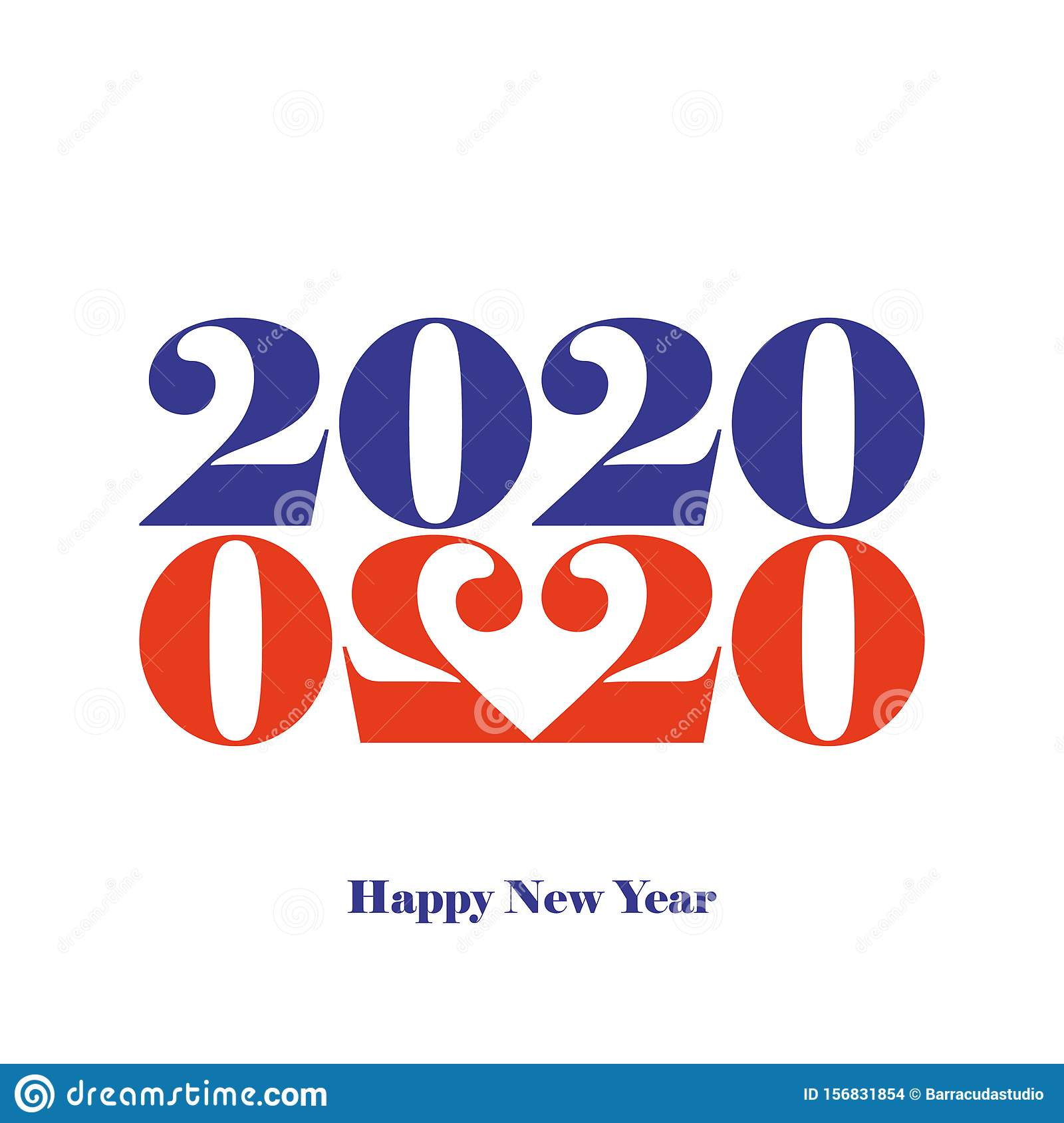 Happy New Year 2020 Greeting Card 2020 Year Typography