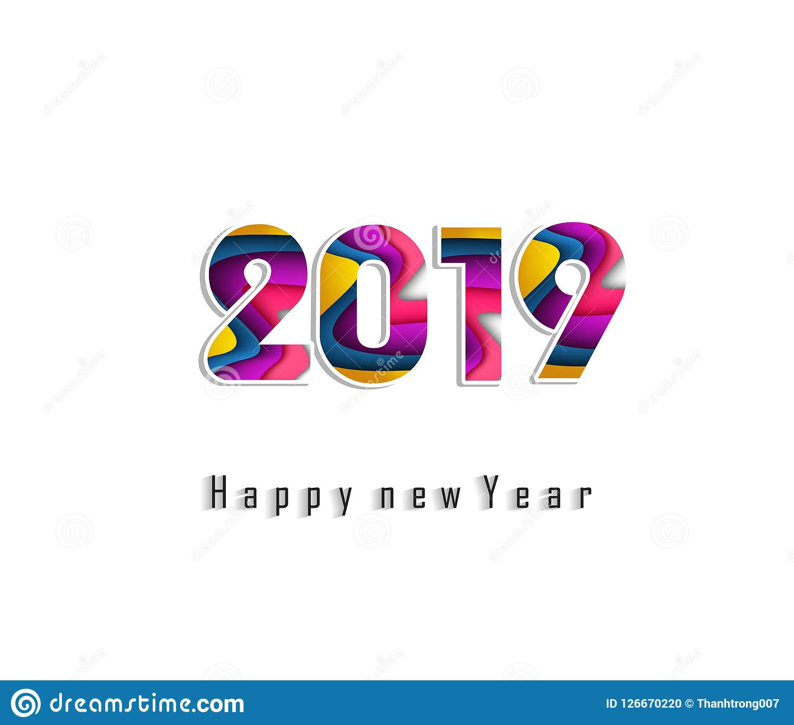 2019 Happy New Year Greeting Card. Vector Design Template ...