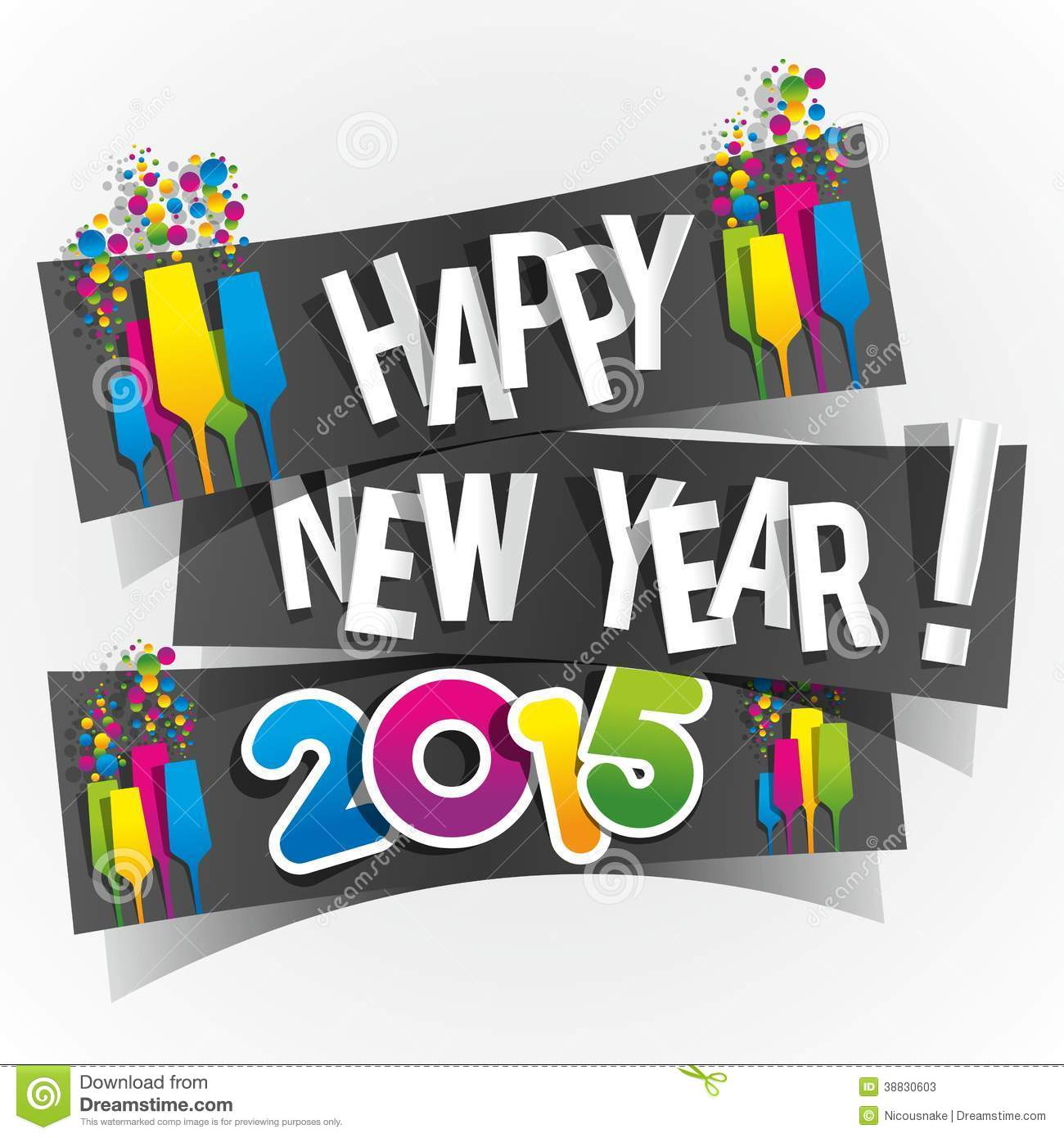 Happy New Year 2015 Greeting Card Stock Vector Illustration Of