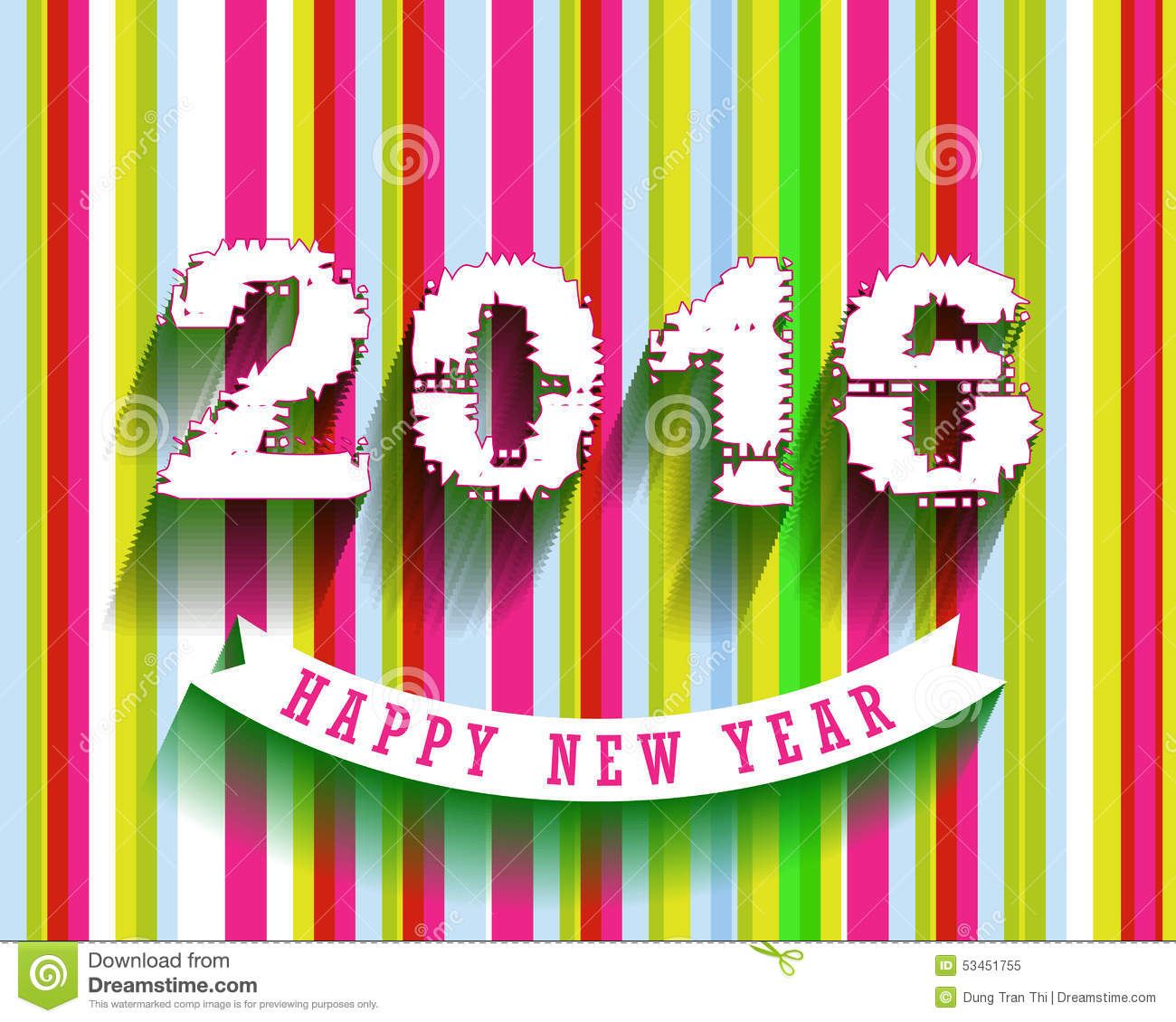 Happy New Year 2016 greeting card Vector illustration design elements.
