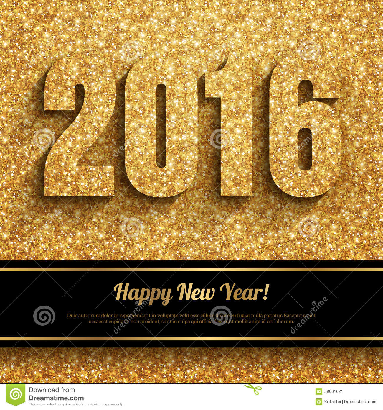 Happy New Year 2016 Golden Greeting Card Stock Vector Illustration