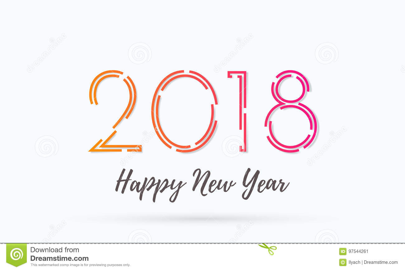 2018 Happy New Year Greeting Card Background Vector Wish Text Design ...