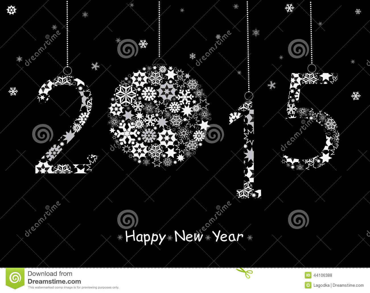 2015 Happy New Year Greeting Card Stock Vector Illustration Of