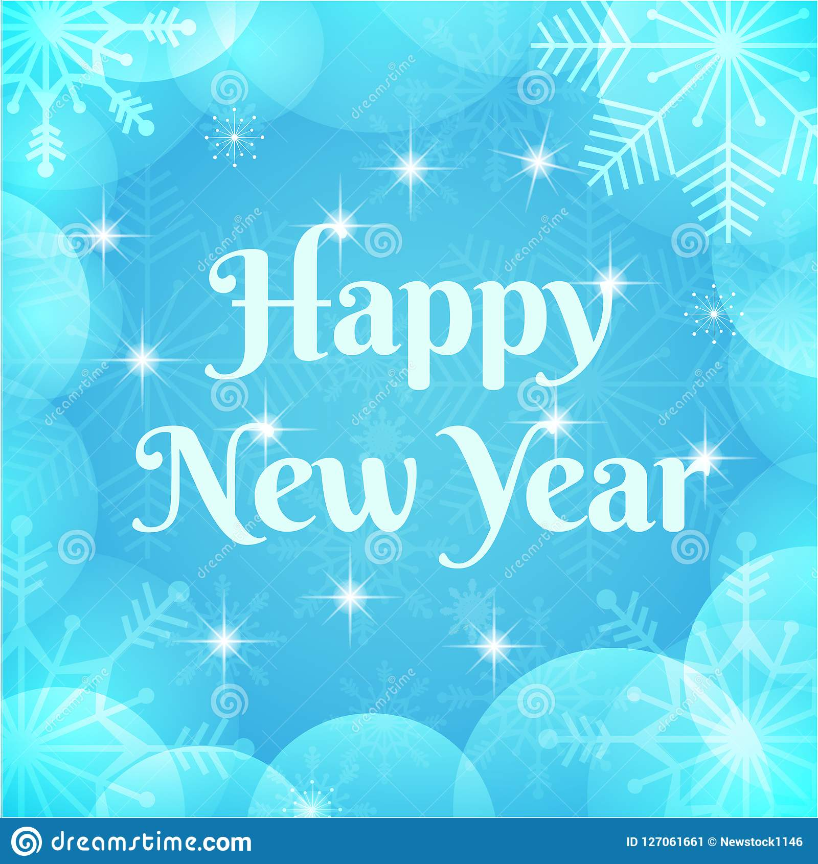Happy New Year Greeting Card. Winter Holidays Vector Background