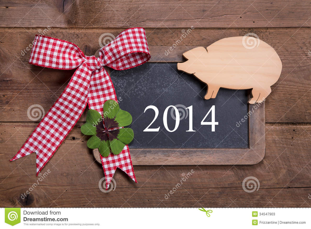 Happy new year 2014 - greeting card on a wooden background with