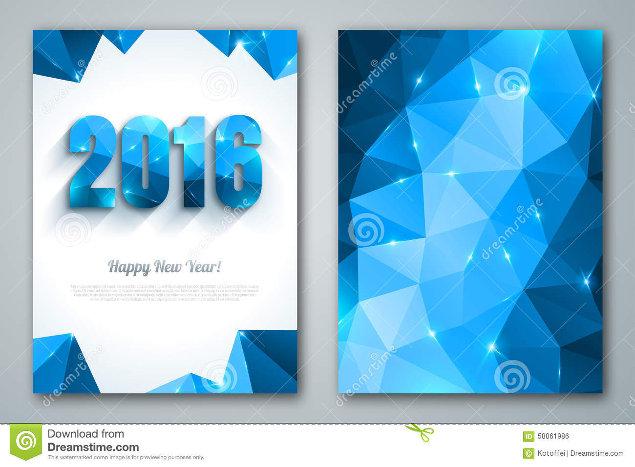 Poster design 2016 - Happy New Year 2016 Greeting Cards In Polygonal Royalty Free Stock Image
