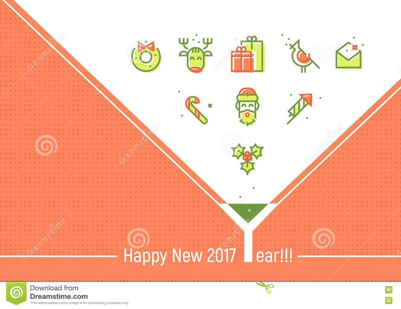 happy new 2017 year greeting cards template