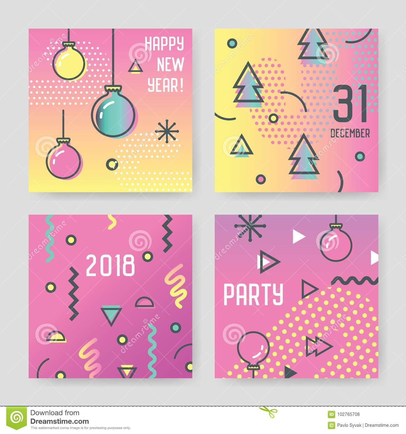 Happy New Year 2018 Greeting Cards In Trendy Abstract Memphis Style