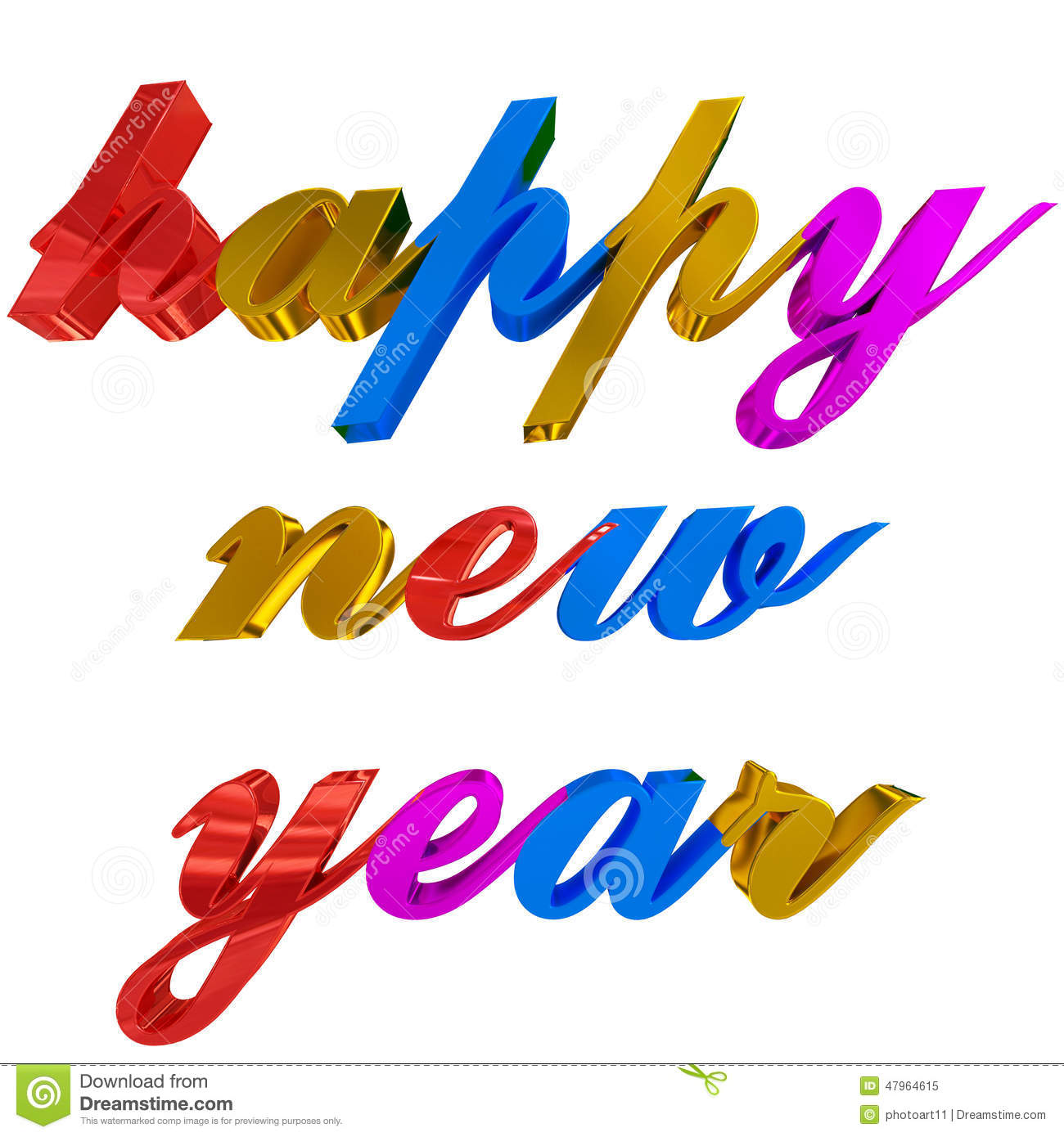 Happy New Year Greeting Colorful 3d Letters On White