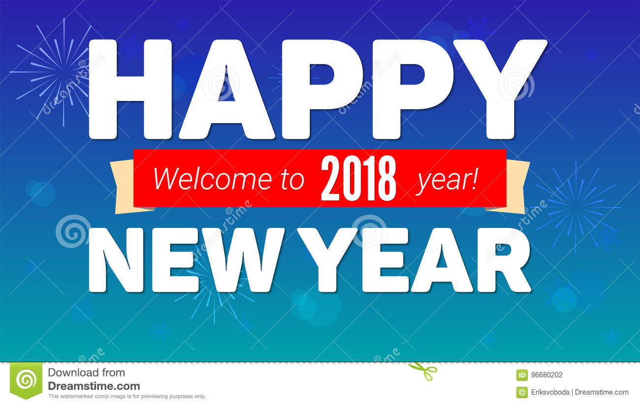 2018 Happy New Year Greeting Horizontal Poster On Night Sky Backdrop