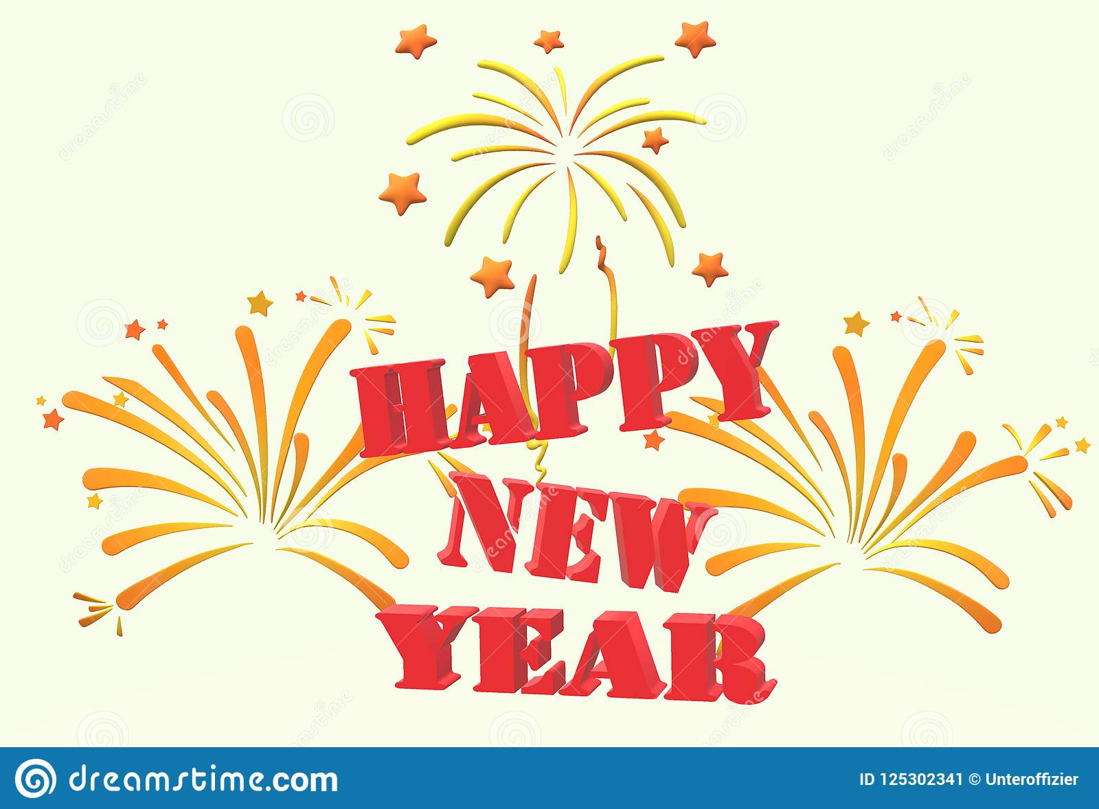 A happy new year greeting poster card featuring fireworks