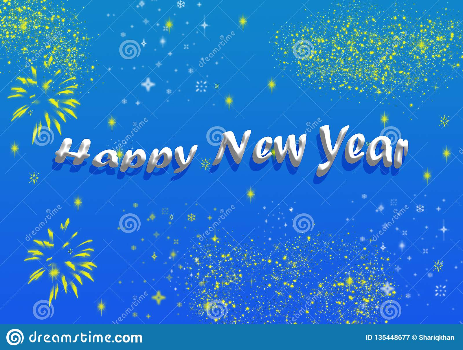 Happy New Year Greeting Shining Stars Glittering
