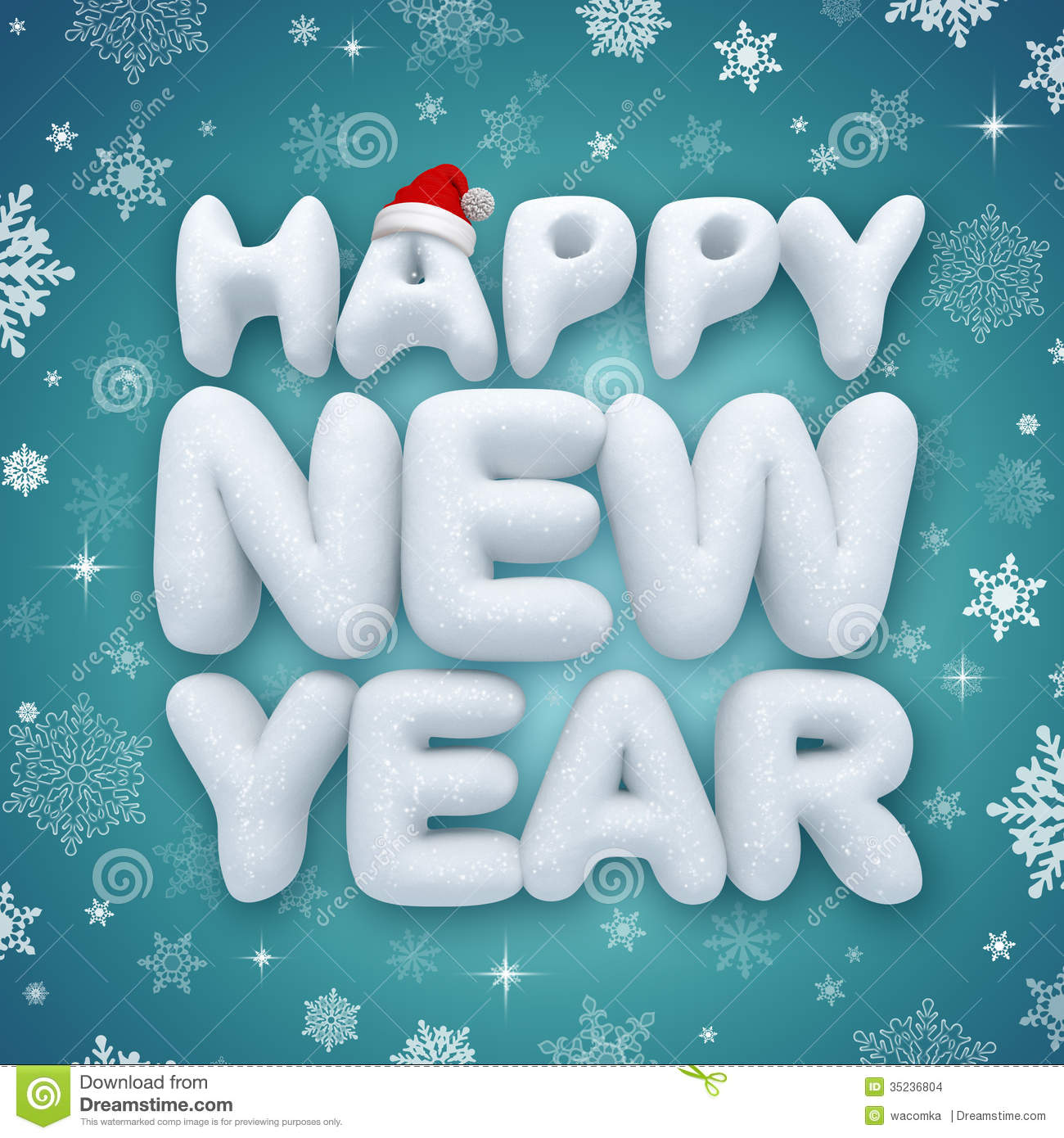 happy new year greeting text 3d snow